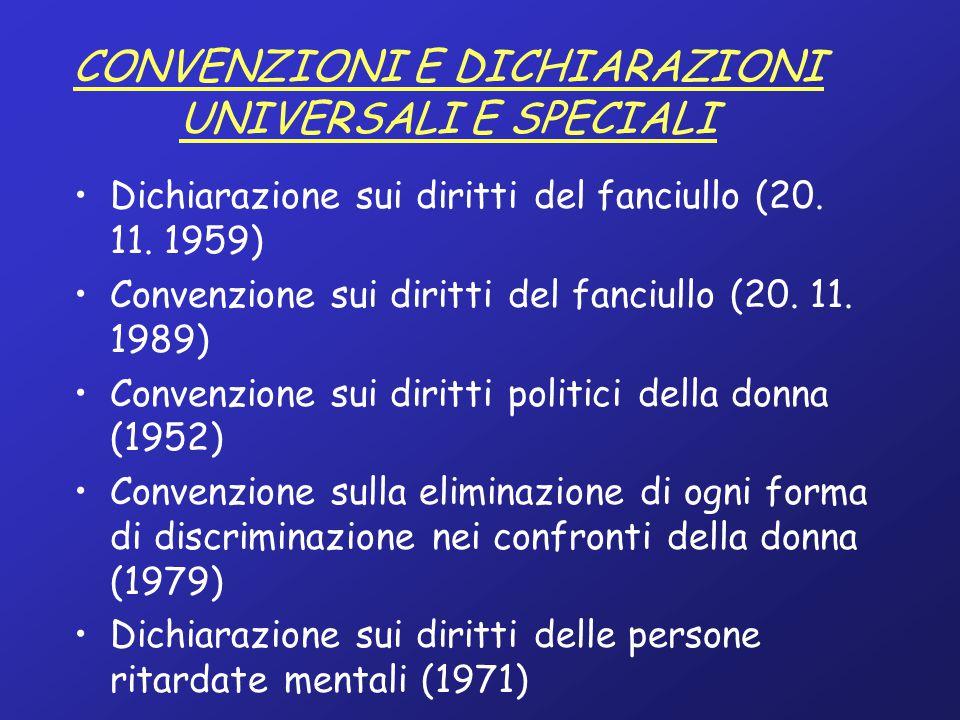 CONVENZIONI E DICHIARAZIONI REGIONALI Convenzione europea per la salvaguardia dei diritti e delle libertà fondamentali (Consiglio d'Europa, 4.