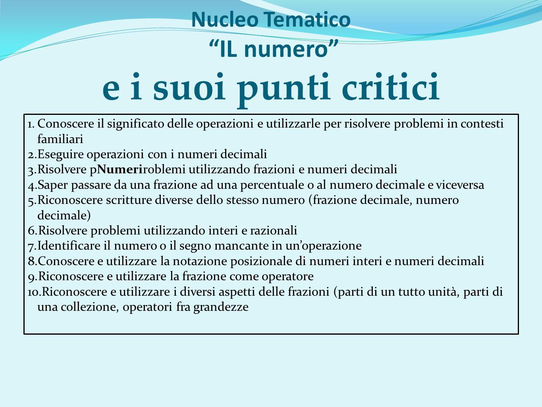 """Nucleo Tematico """"IL numero"""" e i suoi punti critici 1.Conoscere il significato delle operazioni e utilizzarle per risolvere problemi in contesti famili"""