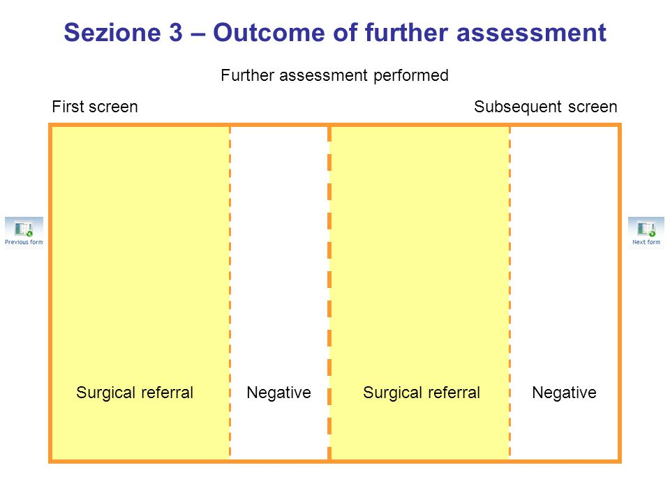 Sezione 3 – Outcome of further assessment Further assessment performed First screenSubsequent screen Surgical referralNegativeSurgical referralNegativ