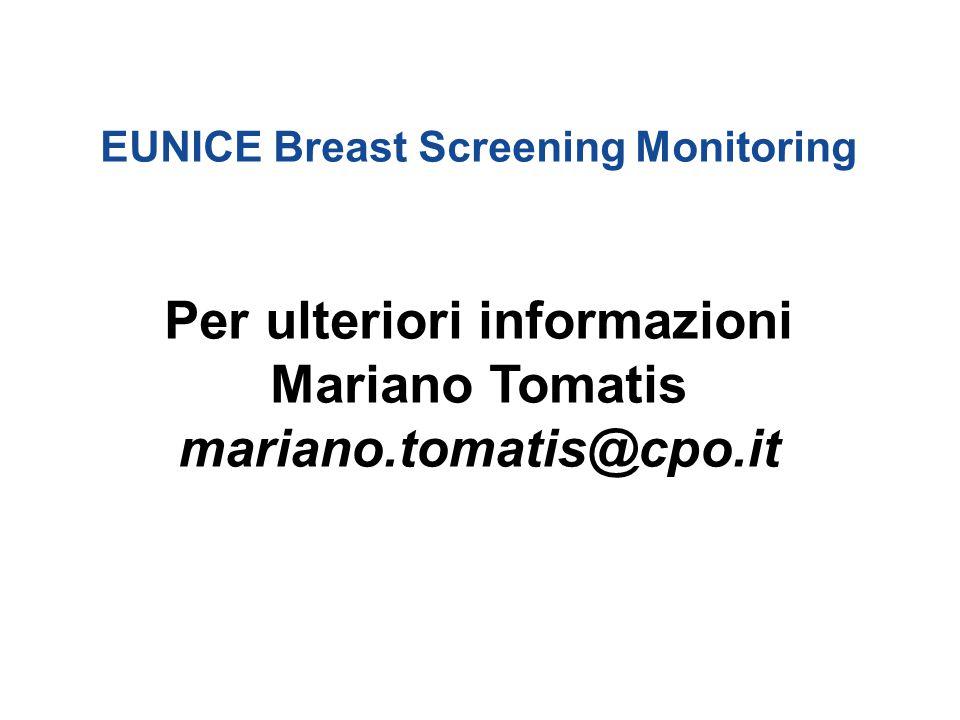 EUNICE Breast Screening Monitoring Per ulteriori informazioni Mariano Tomatis mariano.tomatis@cpo.it