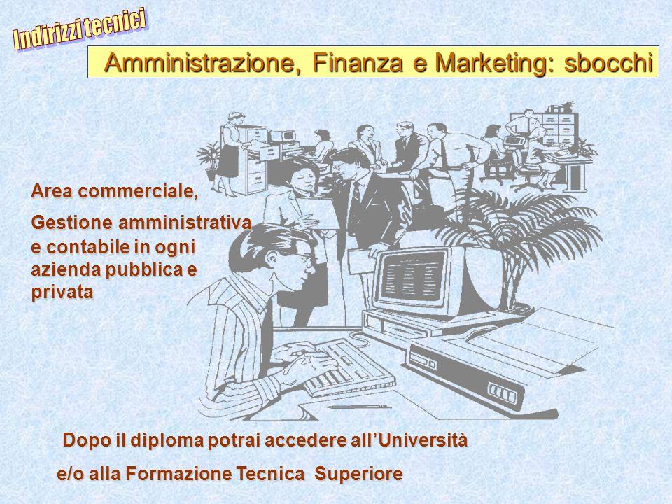 Amministrazione, Finanza e Marketing: sbocchi Area commerciale, Gestione amministrativa e contabile in ogni azienda pubblica e privata Dopo il diploma