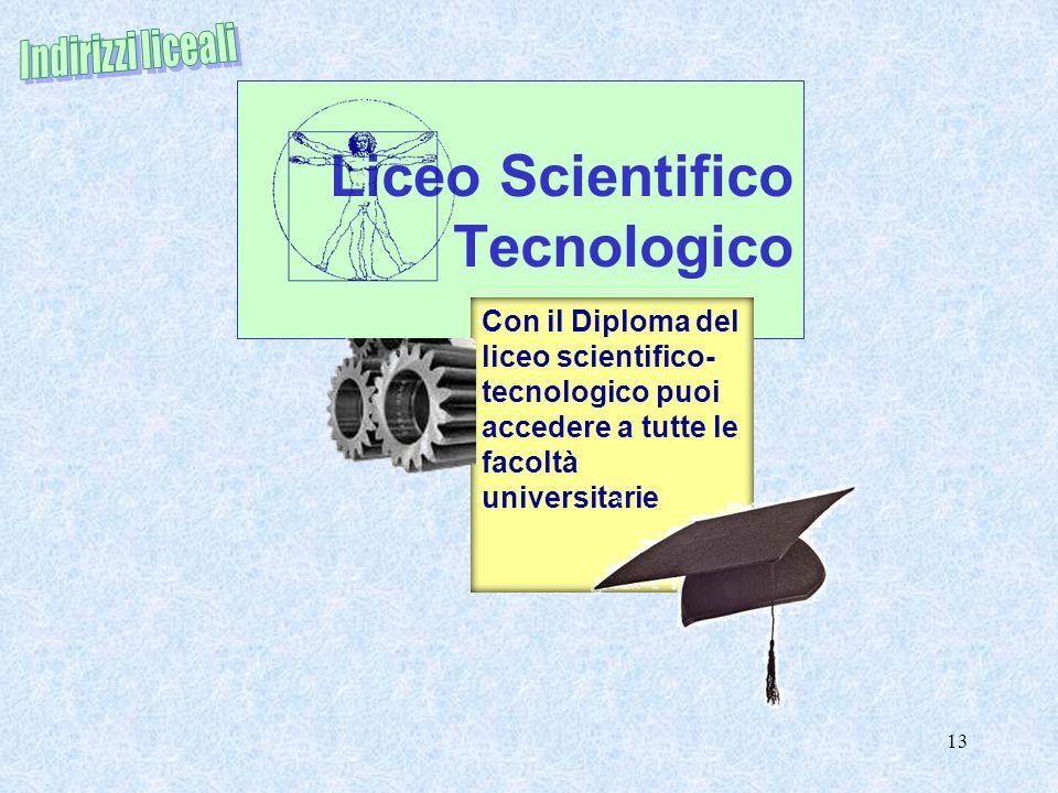 Liceo Scientifico Tecnologico 13 Con il Diploma del liceo scientifico- tecnologico puoi accedere a tutte le facoltà universitarie