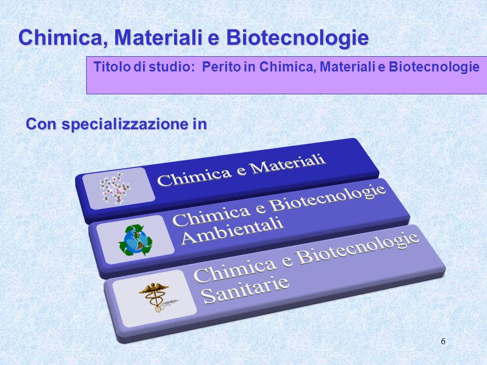 6 Chimica, Materiali e Biotecnologie Titolo di studio: Perito in Chimica, Materiali e Biotecnologie Con specializzazione in