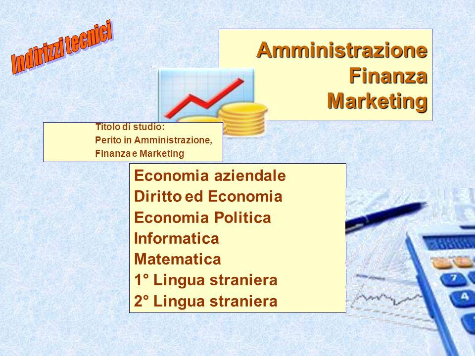 9 Amministrazione Finanza Marketing Economia aziendale Diritto ed Economia Economia Politica Informatica Matematica 1° Lingua straniera 2° Lingua stra