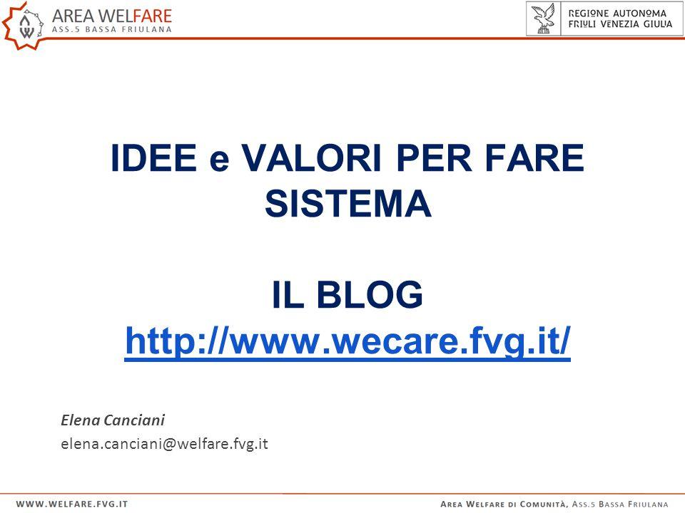 IDEE e VALORI PER FARE SISTEMA IL BLOG http://www.wecare.fvg.it/ http://www.wecare.fvg.it/ Elena Canciani elena.canciani@welfare.fvg.it