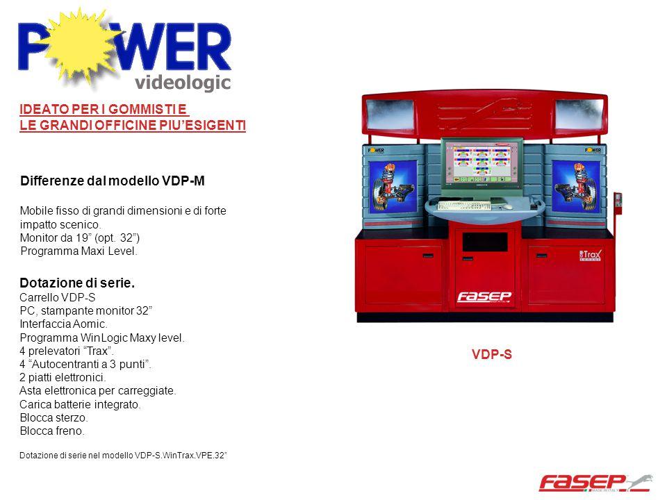 """Differenze dal modello VDP-M Mobile fisso di grandi dimensioni e di forte impatto scenico. Monitor da 19"""" (opt. 32"""") Programma Maxi Level. VDP-S Dotaz"""
