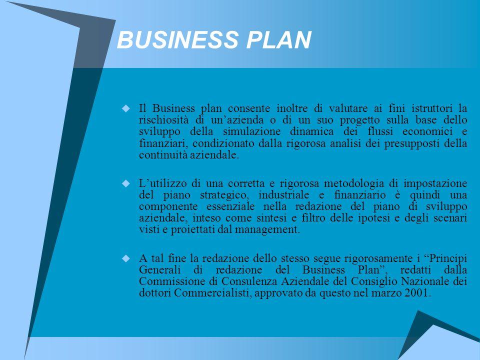 BUSINESS PLAN  Il Business plan consente inoltre di valutare ai fini istruttori la rischiosità di un'azienda o di un suo progetto sulla base dello sviluppo della simulazione dinamica dei flussi economici e finanziari, condizionato dalla rigorosa analisi dei presupposti della continuità aziendale.