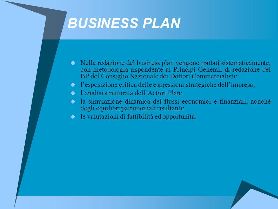 BUSINESS PLAN  Nella redazione del business plan vengono trattati sistematicamente, con metodologia rispondente ai Principi Generali di redazione del BP del Consiglio Nazionale dei Dottori Commercialisti:  l'esposizione critica delle espressioni strategiche dell'impresa;  l'analisi strutturata dell'Action Plan;  la simulazione dinamica dei flussi economici e finanziari, nonché degli equilibri patrimoniali risultanti;  le valutazioni di fattibilità ed opportunità.