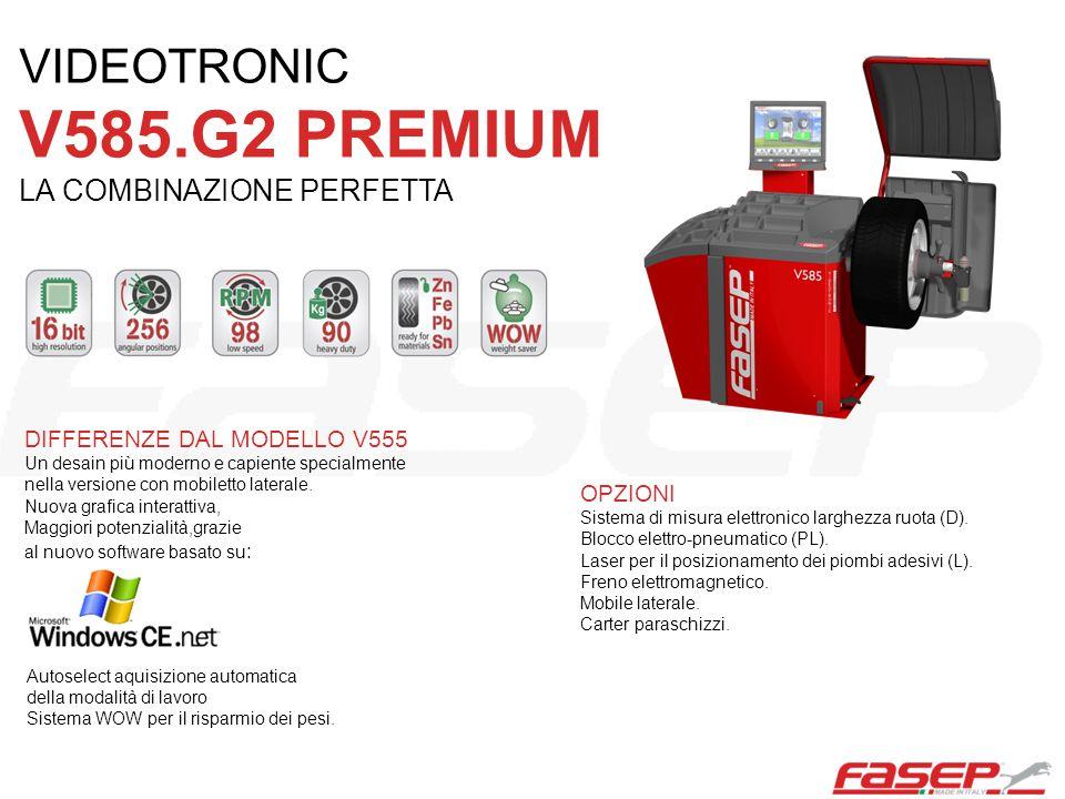 OPZIONI Sistema di misura elettronico larghezza ruota (D). Blocco elettro-pneumatico (PL). Laser per il posizionamento dei piombi adesivi (L). Freno e