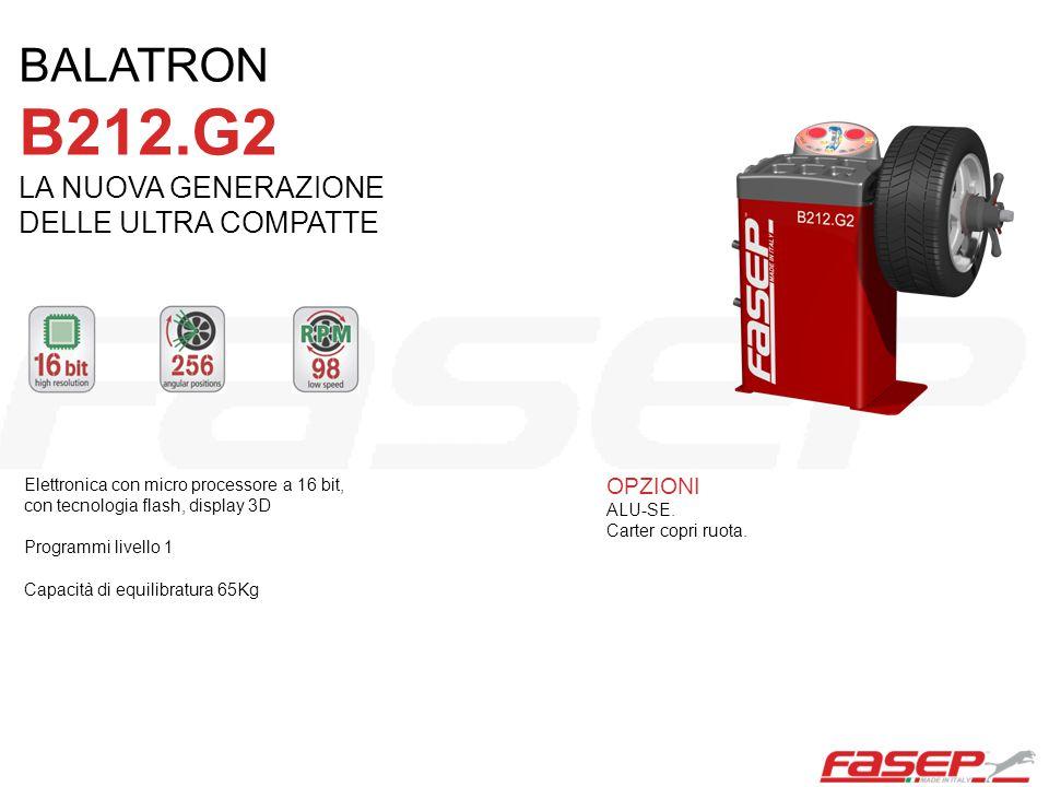 Elettronica con micro processore a 16 bit, con tecnologia flash, display 3D Programmi livello 1 Capacità di equilibratura 65Kg OPZIONI ALU-SE. Carter