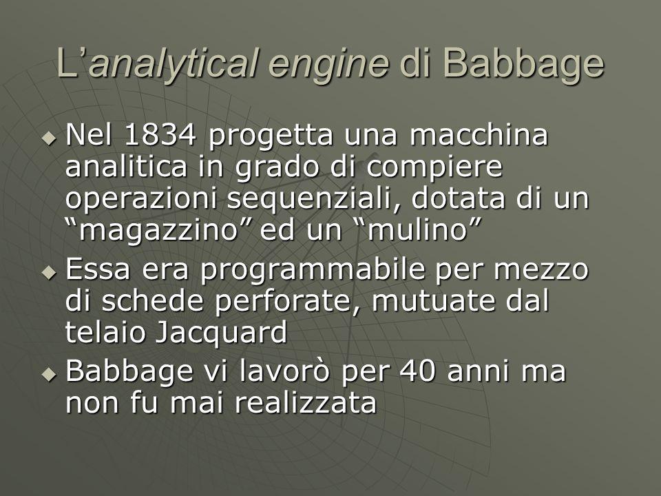 """L'analytical engine di Babbage  Nel 1834 progetta una macchina analitica in grado di compiere operazioni sequenziali, dotata di un """"magazzino"""" ed un"""