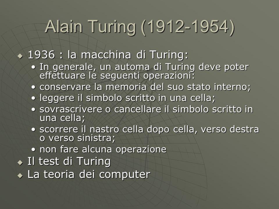 Alain Turing (1912-1954)  1936 : la macchina di Turing: In generale, un automa di Turing deve poter effettuare le seguenti operazioni:In generale, un