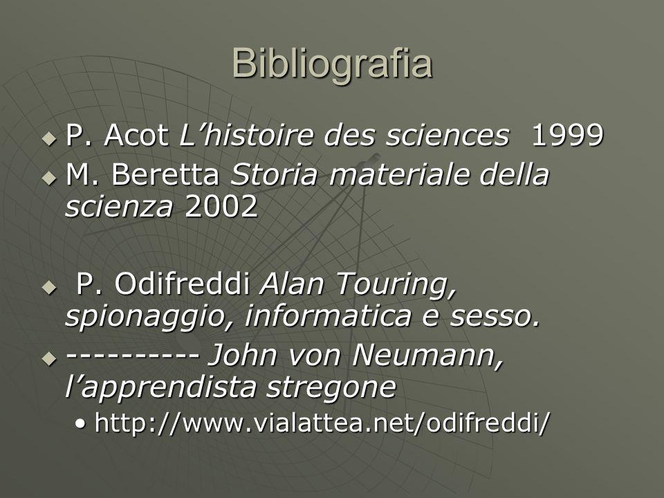 Bibliografia  P. Acot L'histoire des sciences 1999  M. Beretta Storia materiale della scienza 2002  P. Odifreddi Alan Touring, spionaggio, informat