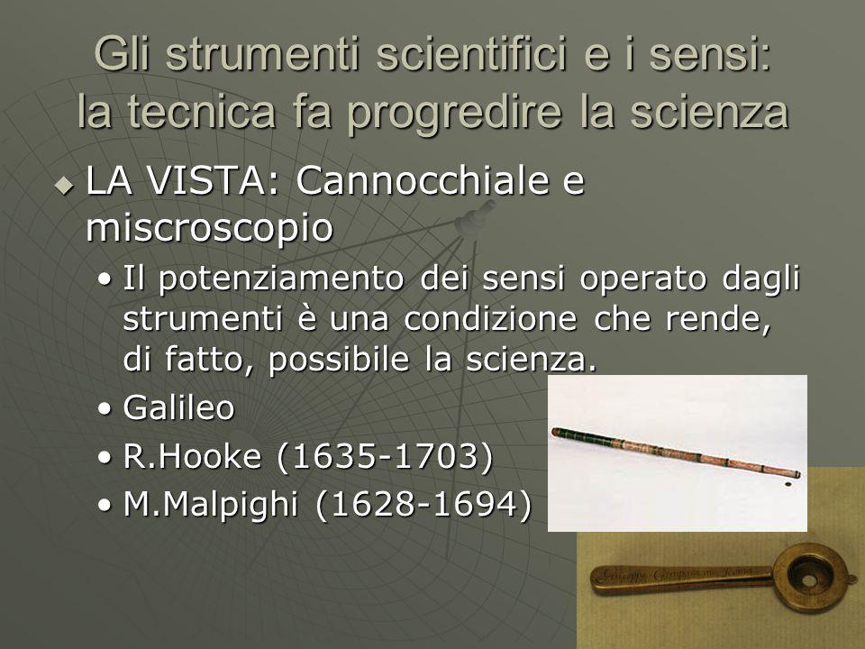 Gli strumenti scientifici e i sensi: la tecnica fa progredire la scienza  LA VISTA: Cannocchiale e miscroscopio Il potenziamento dei sensi operato da