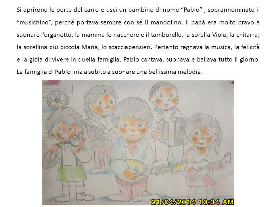 """Si aprirono le porte del carro e uscì un bambino di nome """"Pablo"""", soprannominato il """"musichino"""", perché portava sempre con sé il mandolino. Il papà er"""