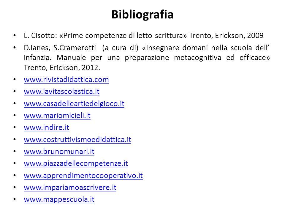 Bibliografia L. Cisotto: «Prime competenze di letto-scrittura» Trento, Erickson, 2009 D.Ianes, S.Cramerotti (a cura di) «Insegnare domani nella scuola