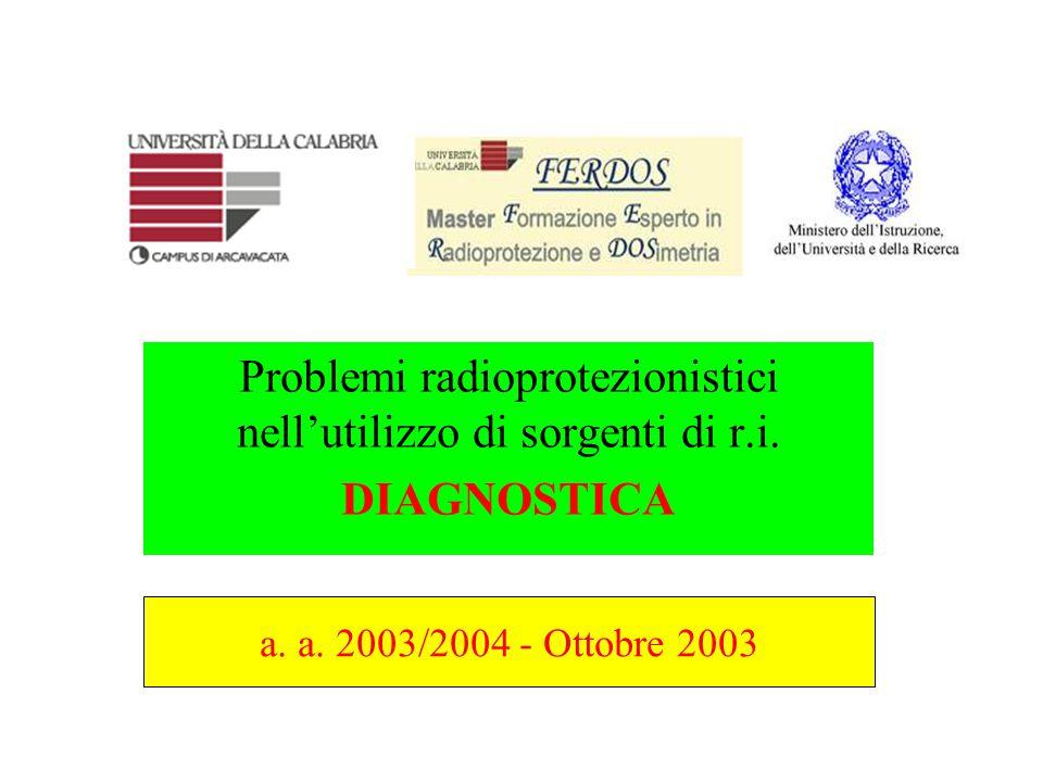 Problemi radioprotezionistici nell'utilizzo di sorgenti di r.i.