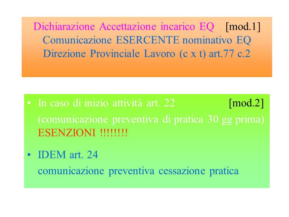 Dichiarazione Accettazione incarico EQ [mod.1] Comunicazione ESERCENTE nominativo EQ Direzione Provinciale Lavoro (c x t) art.77 c.2 In caso di inizio attività art.
