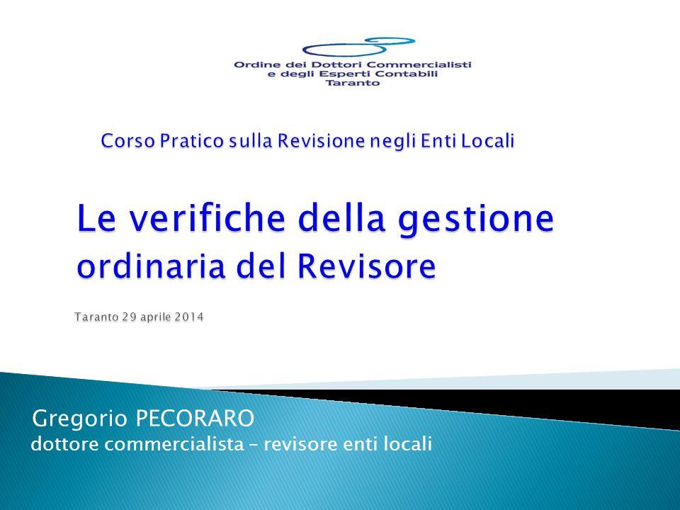 Gregorio PECORARO dottore commercialista – revisore enti locali