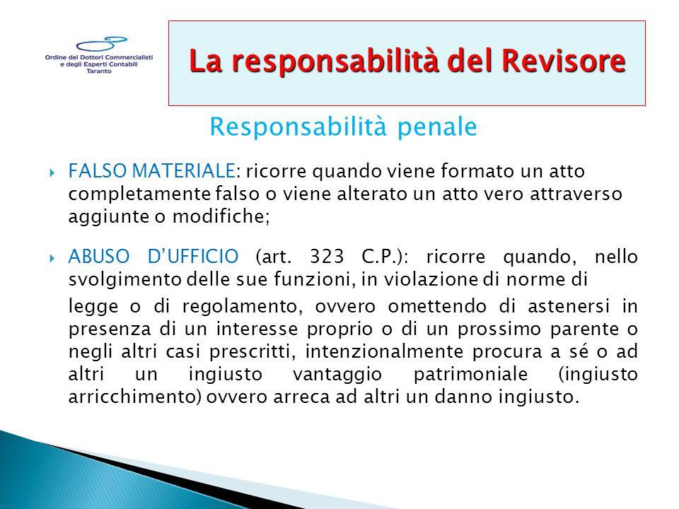 Responsabilità penale  FALSO MATERIALE: ricorre quando viene formato un atto completamente falso o viene alterato un atto vero attraverso aggiunte o modifiche;  ABUSO D'UFFICIO (art.