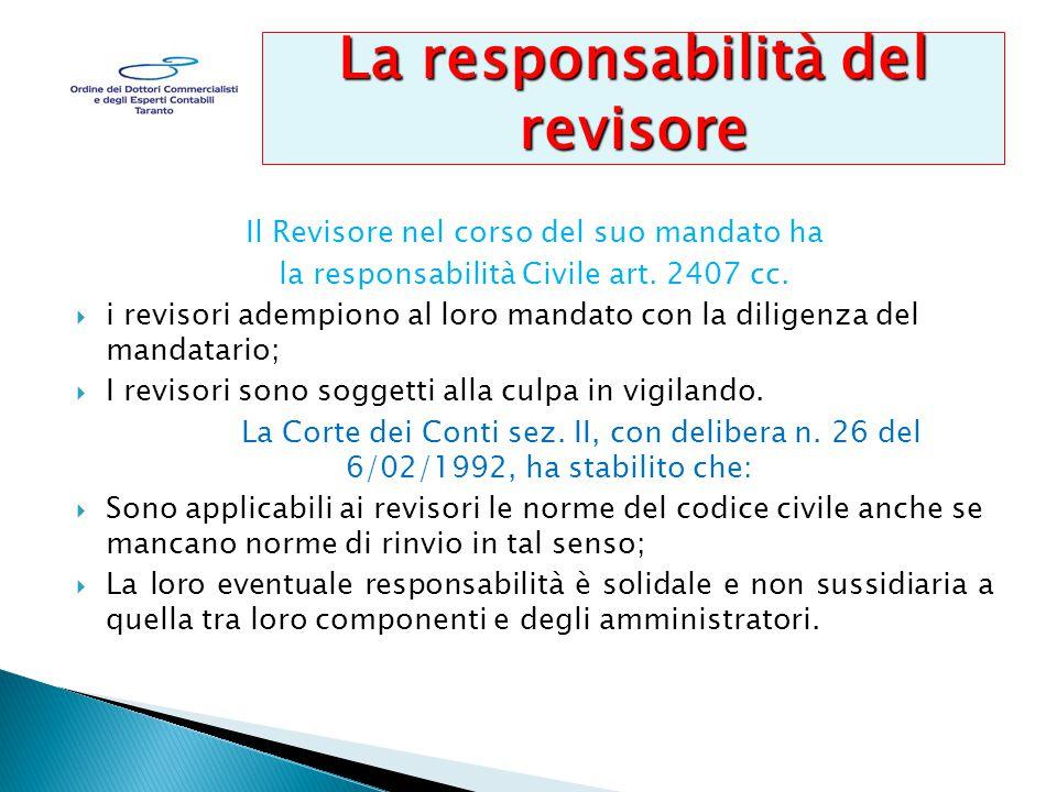 Il Revisore nel corso del suo mandato ha la responsabilità Civile art.