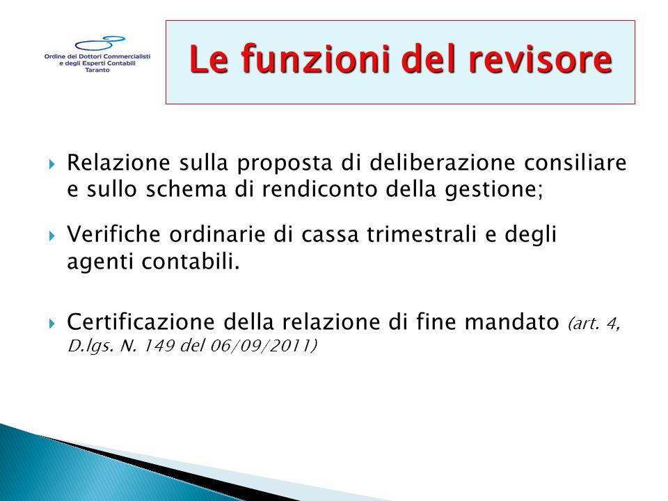  Relazione sulla proposta di deliberazione consiliare e sullo schema di rendiconto della gestione;  Verifiche ordinarie di cassa trimestrali e degli agenti contabili.