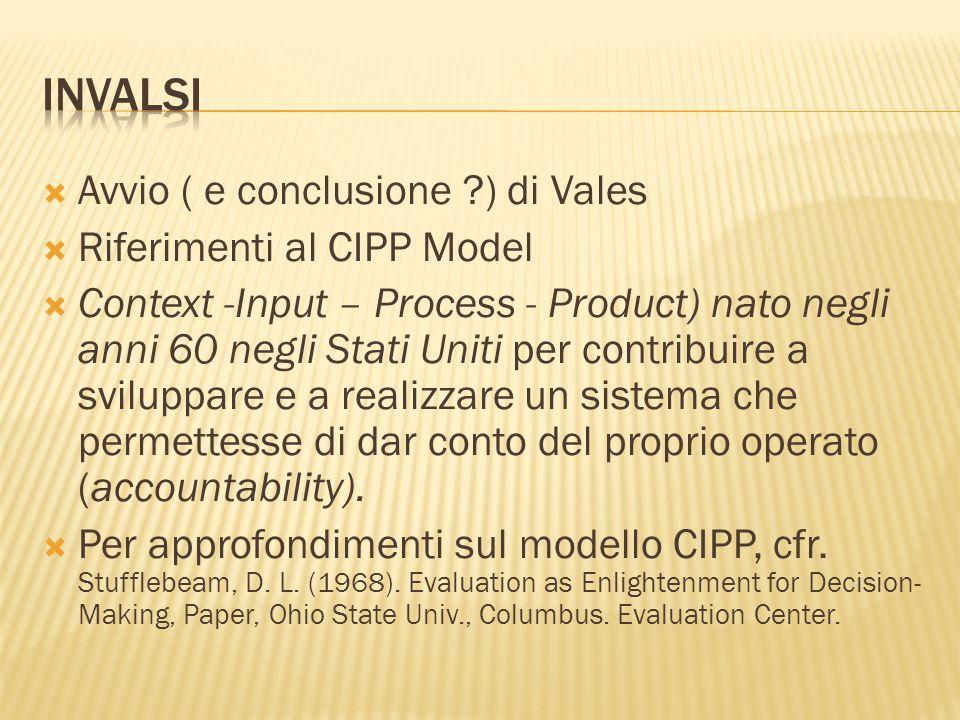 Avvio ( e conclusione ?) di Vales  Riferimenti al CIPP Model  Context -Input – Process - Product) nato negli anni 60 negli Stati Uniti per contribuire a sviluppare e a realizzare un sistema che permettesse di dar conto del proprio operato (accountability).