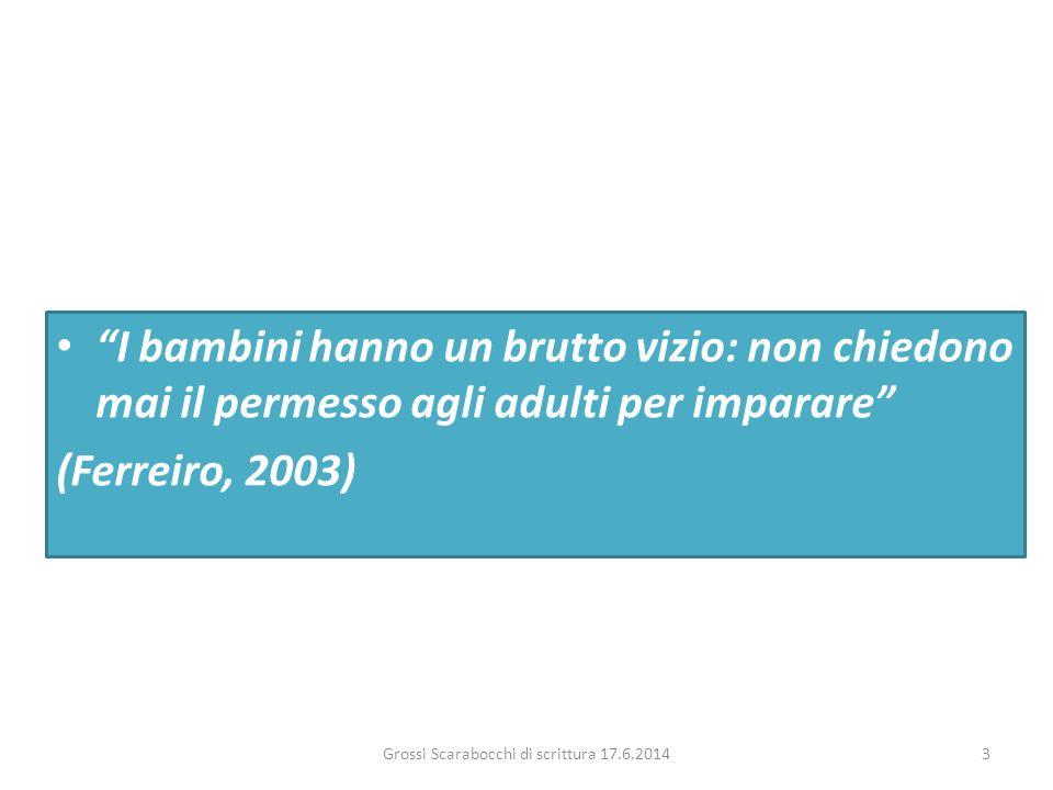 """""""I bambini hanno un brutto vizio: non chiedono mai il permesso agli adulti per imparare"""" (Ferreiro, 2003) Grossi Scarabocchi di scrittura 17.6.20143"""