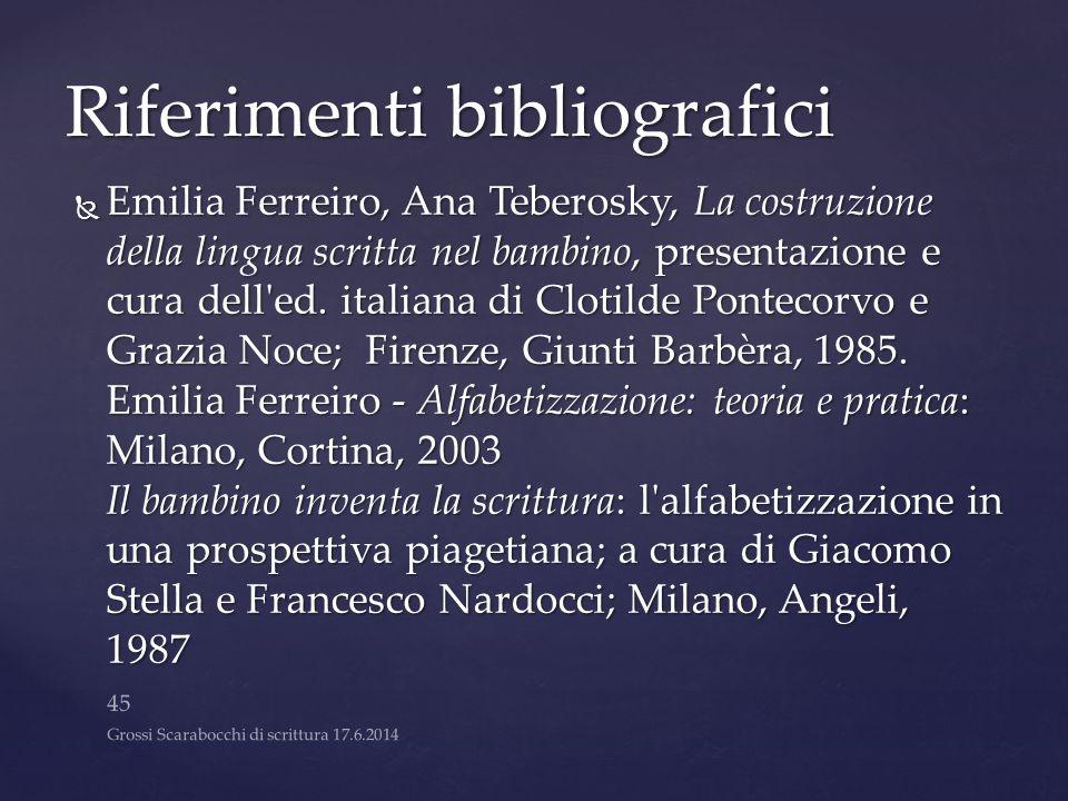 Riferimenti bibliografici  Emilia Ferreiro, Ana Teberosky, La costruzione della lingua scritta nel bambino, presentazione e cura dell'ed. italiana di