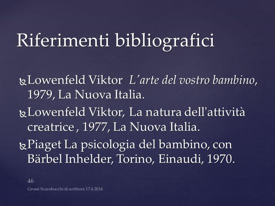 Riferimenti bibliografici  Lowenfeld ViktorL'arte del vostro bambino, 1979, La Nuova Italia.  Lowenfeld Viktor,La natura dell'attività creatrice, 19