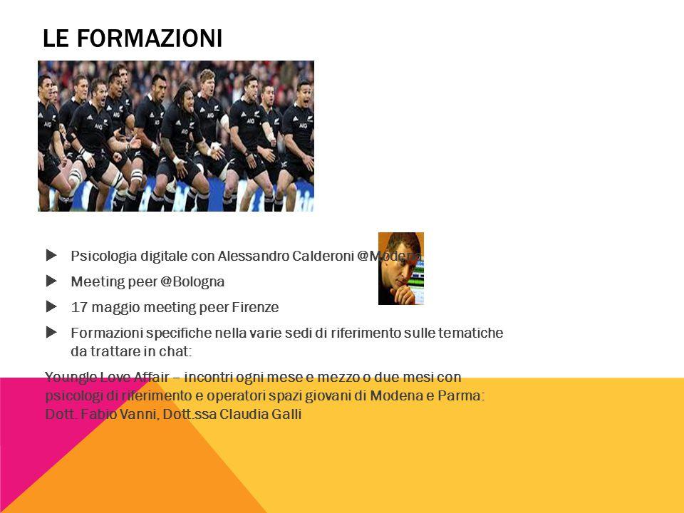 LE FORMAZIONI  Psicologia digitale con Alessandro Calderoni @Modena  Meeting peer @Bologna  17 maggio meeting peer Firenze  Formazioni specifiche