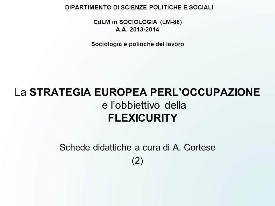 DIPARTIMENTO DI SCIENZE POLITICHE E SOCIALI CdLM in SOCIOLOGIA (LM-88) A.A. 2013-2014 Sociologia e politiche del lavoro La STRATEGIA EUROPEA PERL'OCCU