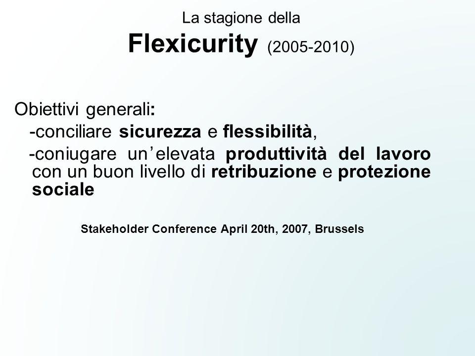 La stagione della Flexicurity (2005-2010) Obiettivi generali: -conciliare sicurezza e flessibilità, -coniugare un'elevata produttività del lavoro con un buon livello di retribuzione e protezione sociale Stakeholder Conference April 20th, 2007, Brussels