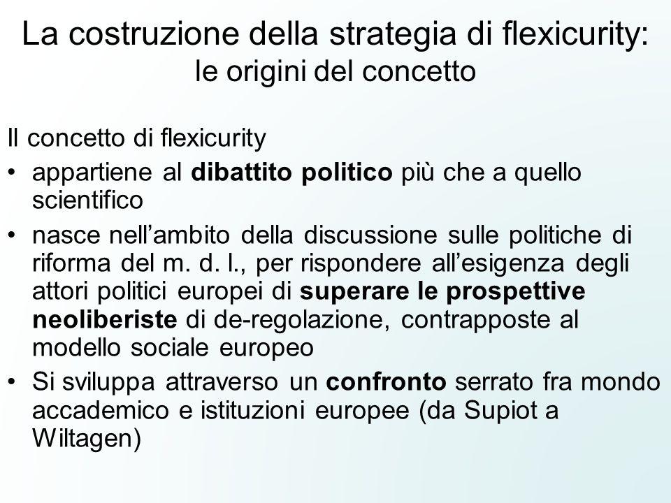 La costruzione della strategia di flexicurity: le origini del concetto Il concetto di flexicurity appartiene al dibattito politico più che a quello scientifico nasce nell'ambito della discussione sulle politiche di riforma del m.