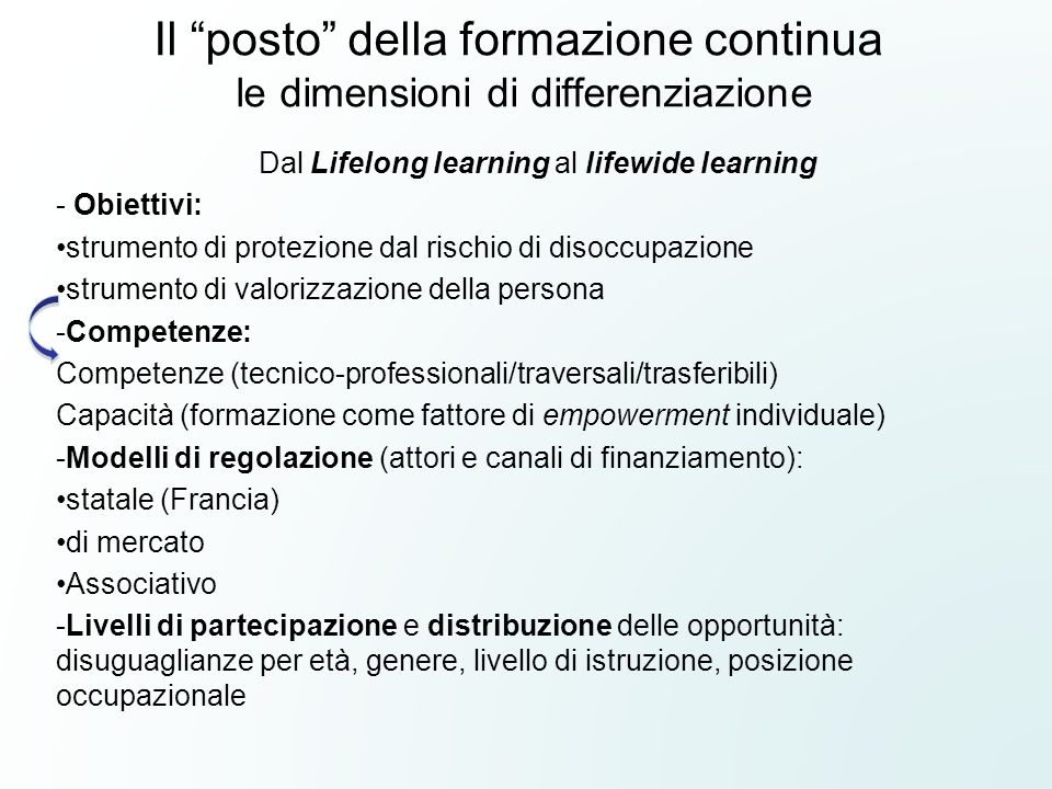 """Il """"posto"""" della formazione continua le dimensioni di differenziazione Dal Lifelong learning al lifewide learning - Obiettivi: strumento di protezione"""