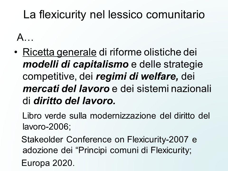 La flexicurity nel lessico comunitario A… Ricetta generale di riforme olistiche dei modelli di capitalismo e delle strategie competitive, dei regimi d