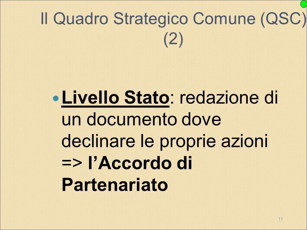 11 Il Quadro Strategico Comune (QSC) (2) Livello Stato: redazione di un documento dove declinare le proprie azioni => l'Accordo di Partenariato