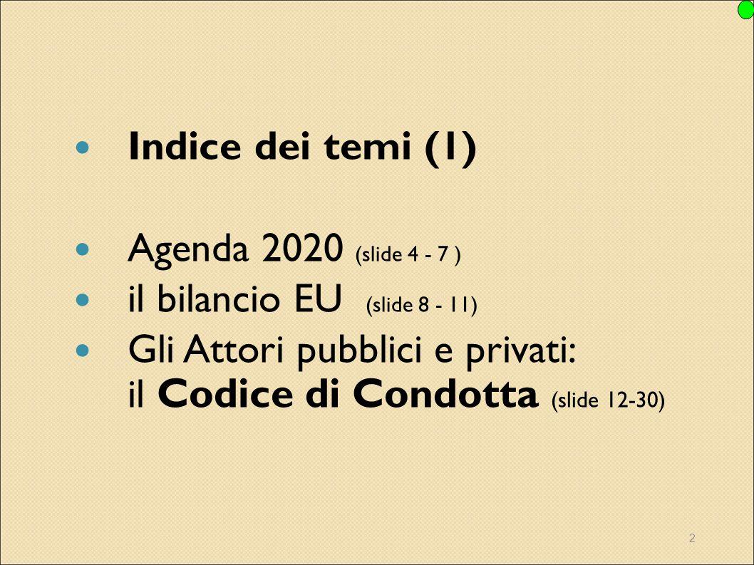 2 Indice dei temi (1) Agenda 2020 (slide 4 - 7 ) il bilancio EU (slide 8 - 11) Gli Attori pubblici e privati: il Codice di Condotta (slide 12-30)