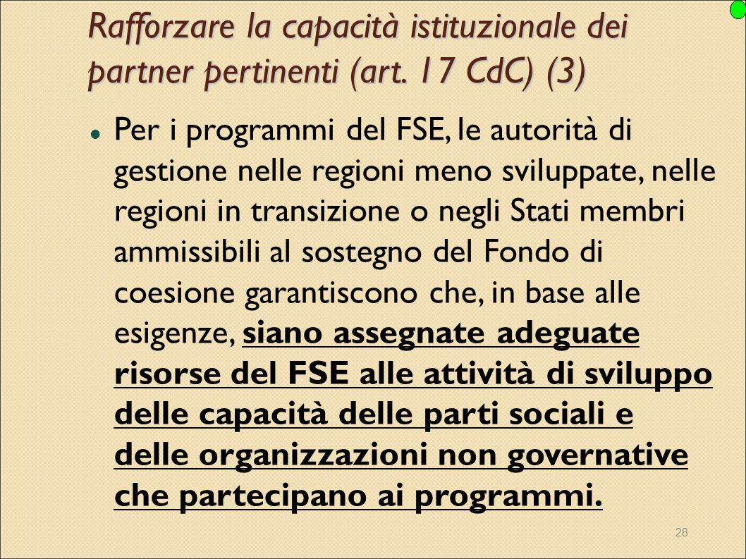 28 Per i programmi del FSE, le autorità di gestione nelle regioni meno sviluppate, nelle regioni in transizione o negli Stati membri ammissibili al so