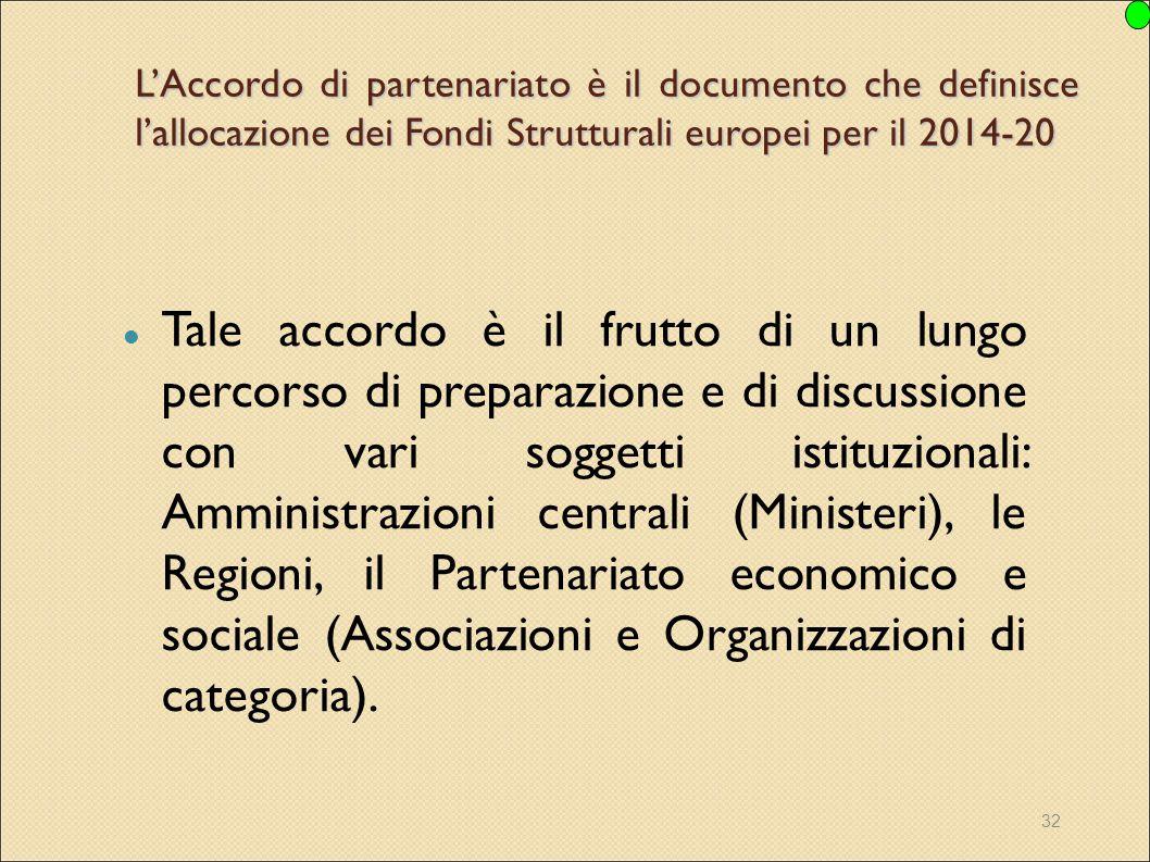 32 L'Accordo di partenariato è il documento che definisce l'allocazione dei Fondi Strutturali europei per il 2014-20 Tale accordo è il frutto di un lu