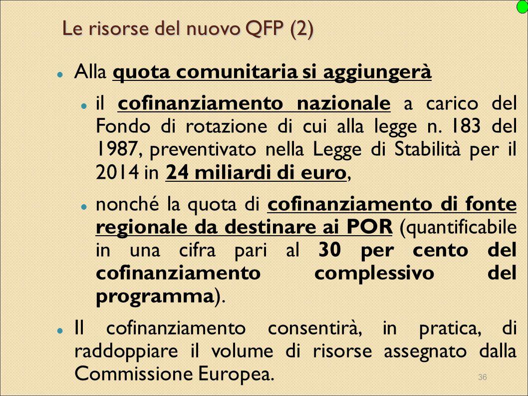 36 Le risorse del nuovo QFP (2) Alla quota comunitaria si aggiungerà il cofinanziamento nazionale a carico del Fondo di rotazione di cui alla legge n.