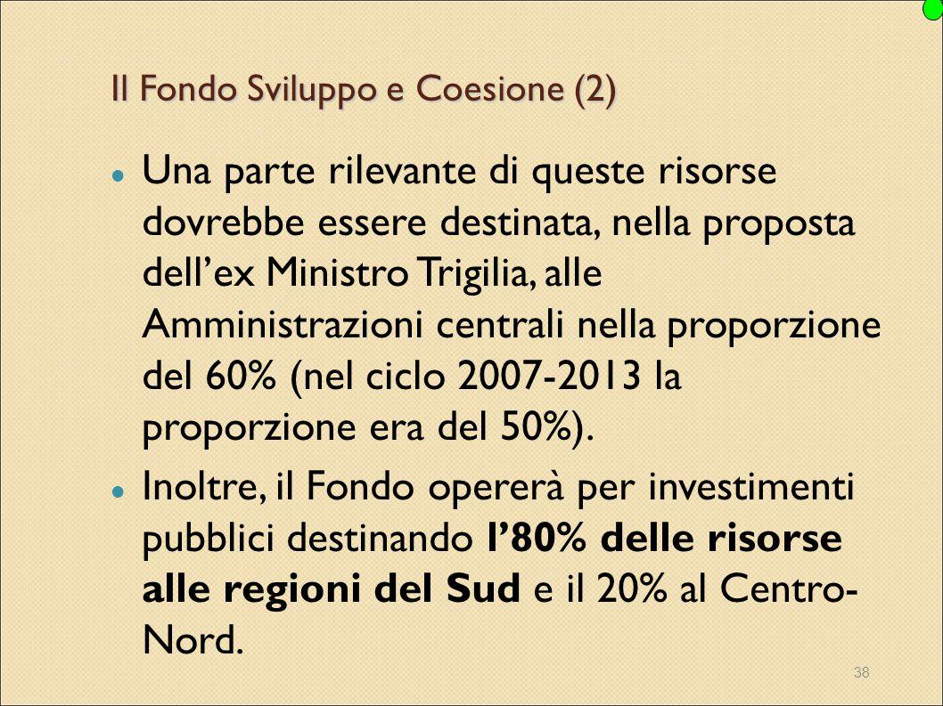 38 Il Fondo Sviluppo e Coesione (2) Una parte rilevante di queste risorse dovrebbe essere destinata, nella proposta dell'ex Ministro Trigilia, alle Am