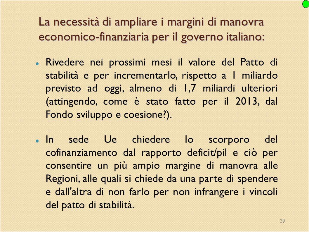 39 La necessità di ampliare i margini di manovra economico-finanziaria per il governo italiano: Rivedere nei prossimi mesi il valore del Patto di stab