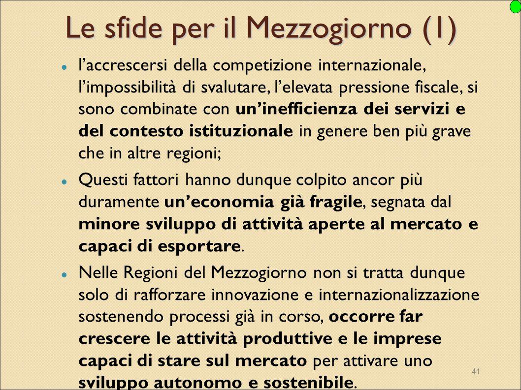 41 Le sfide per il Mezzogiorno (1) l'accrescersi della competizione internazionale, l'impossibilità di svalutare, l'elevata pressione fiscale, si sono