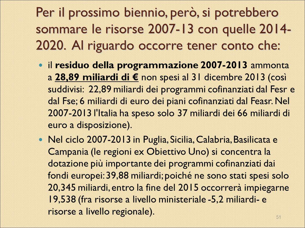 51 Per il prossimo biennio, però, si potrebbero sommare le risorse 2007-13 con quelle 2014- 2020. Al riguardo occorre tener conto che: il residuo dell
