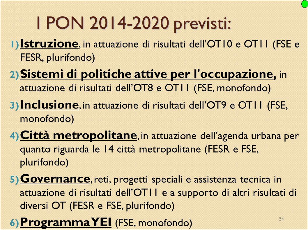 54 I PON 2014-2020 previsti: 1) Istruzione, in attuazione di risultati dell'OT10 e OT11 (FSE e FESR, plurifondo) 2) Sistemi di politiche attive per l'