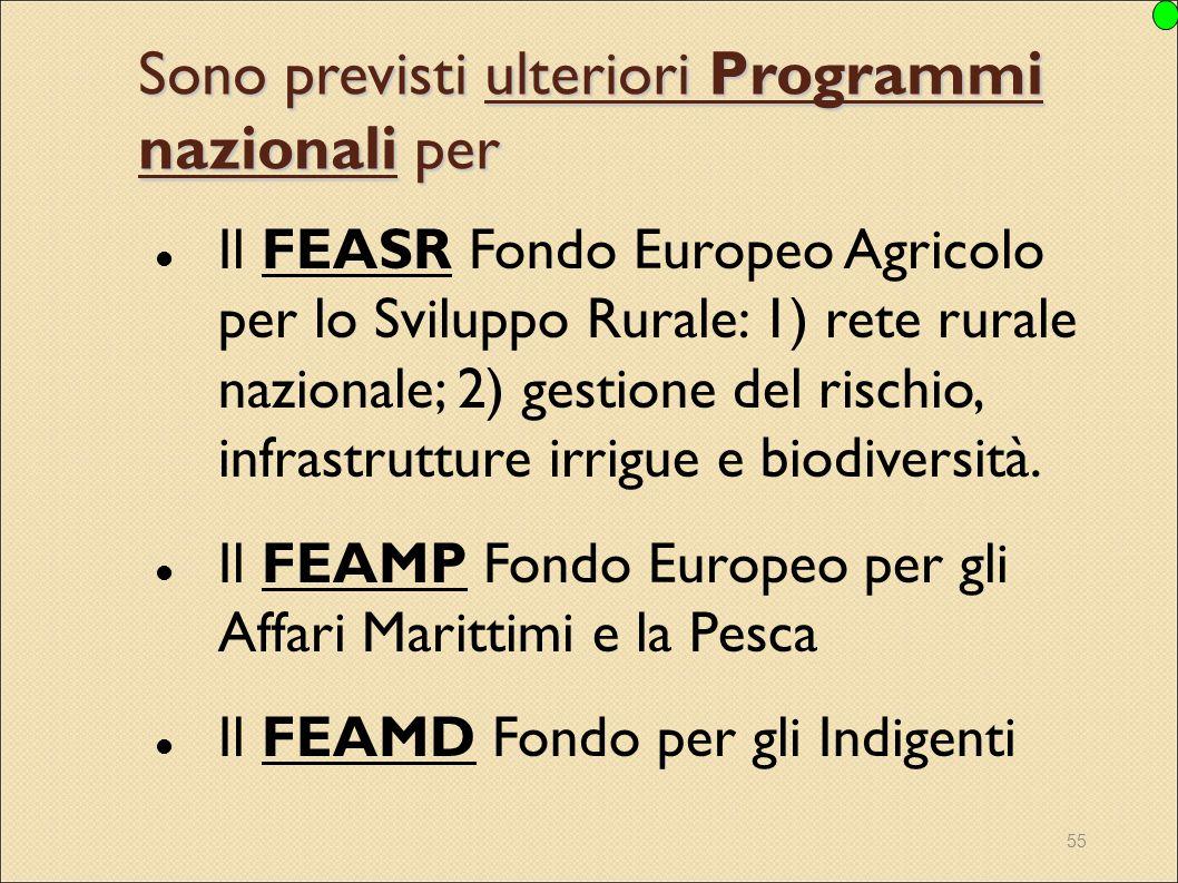 55 Sono previsti ulteriori Programmi nazionali per Il FEASR Fondo Europeo Agricolo per lo Sviluppo Rurale: 1) rete rurale nazionale; 2) gestione del r