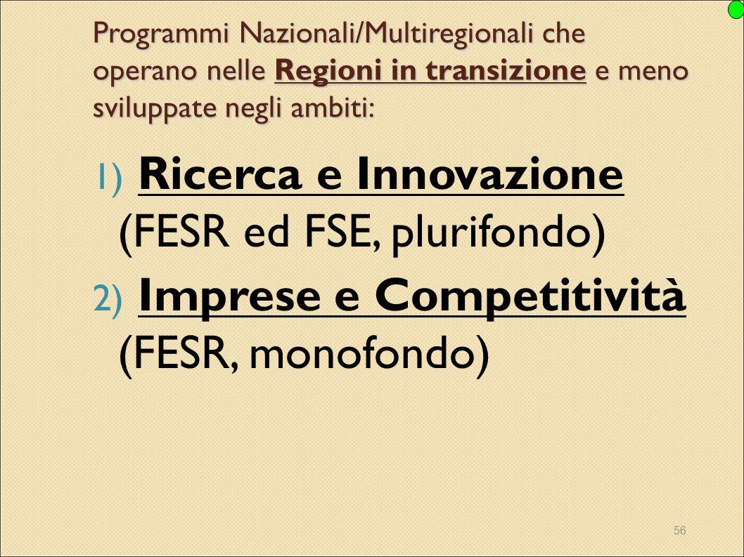 56 Programmi Nazionali/Multiregionali che operano nelle Regioni in transizione e meno sviluppate negli ambiti: 1) Ricerca e Innovazione (FESR ed FSE,