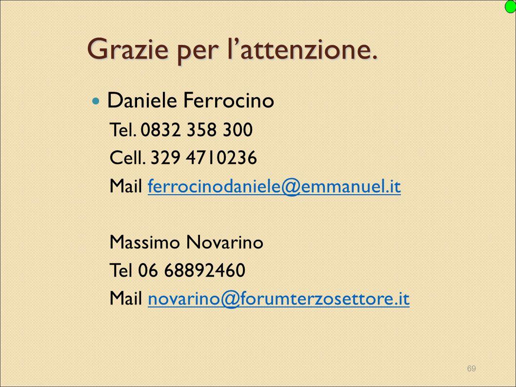69 Grazie per l'attenzione. Daniele Ferrocino Tel. 0832 358 300 Cell. 329 4710236 Mail ferrocinodaniele@emmanuel.itferrocinodaniele@emmanuel.it Massim