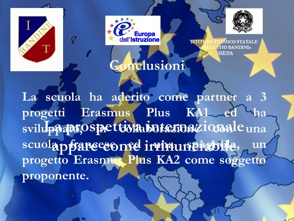 ISTITUTO TECNICO STATALE «SALLUSTIO BANDINI» SIENA 11 Conclusioni La prospettiva internazionale appare come irrinunciabile La scuola ha aderito come partner a 3 progetti Erasmus Plus KA1 ed ha sviluppato, in collaborazione con una scuola francese ed una spagnola, un progetto Erasmus Plus KA2 come soggetto proponente.